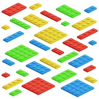 アイソメのビルディングブロック、おもちゃの子供レンガのベクトルセット