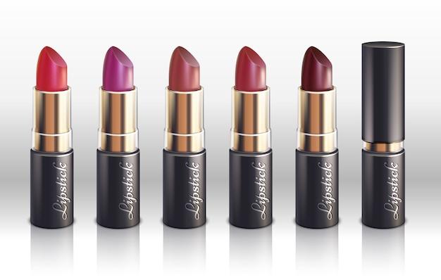 女性の唇のための光沢のある色の口紅は、ベクトルセットを構成する