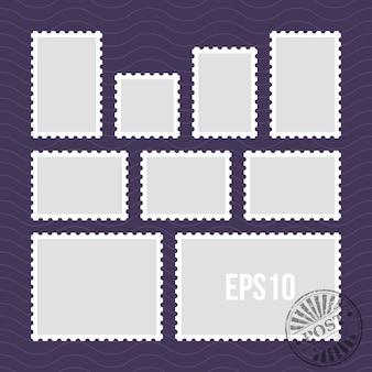 穿孔されたエッジとメールスタンプベクトルテンプレートを備えた郵便切手