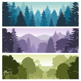 松林、シルエットの森のパノラマのスカイライン、ベクトル自然野生動物の風景の背景