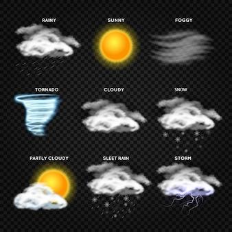 Реалистичные значки вектора погоды, изолированные на прозрачном фоне