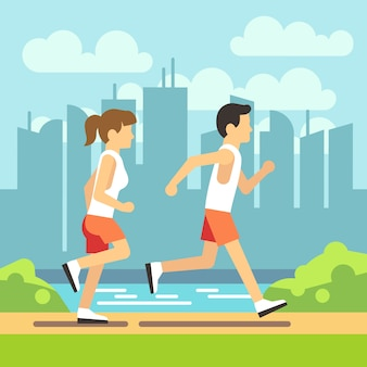 ジョギングスポーツの人々