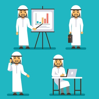 さまざまなビジネス状況でアラブ人のベクトル文字