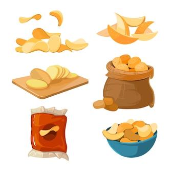 Соленые жареные картофельные чипсы закуски векторный набор