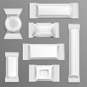 白い空のポリエチレンラッパー包装