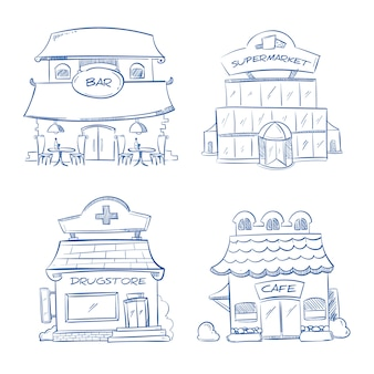 店の落書き建物のファサード