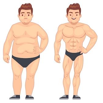 漫画の筋肉と太った男