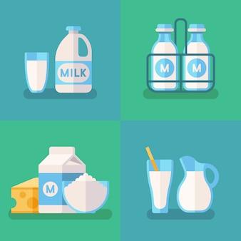 新鮮な有機ミルクベクターのコンセプト