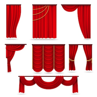 Красные бархатные сценические шторы