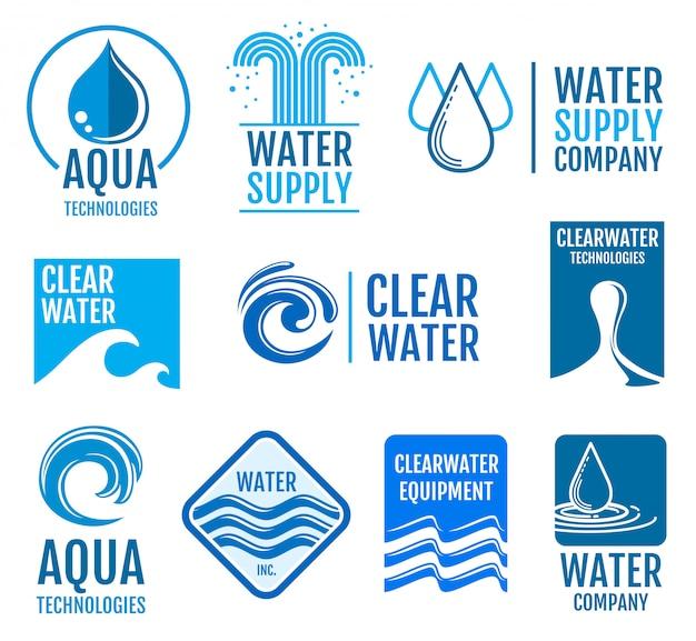 Пресная вода векторные логотипы