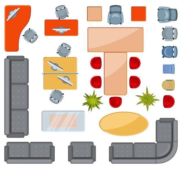 トップビューのインテリア家具アイコンフラットアイコン