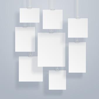Пустое белое изображение и фоторамки на стене векторная иллюстрация