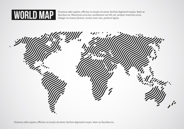 波線の世界地図。抽象的な世界大陸の地形のインフォグラフィックの背景