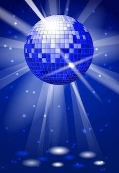 ディスコボールとダンスクラブパーティーの背景。ダンスボールの明るい反射
