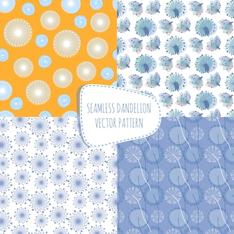 タンポポとのシームレスなパターン。無限の春の布の装飾