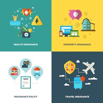 保険の平らな背景の概念