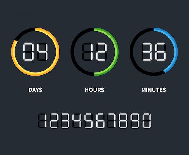 デジタル時計またはカウントダウンタイマー。時間の概念