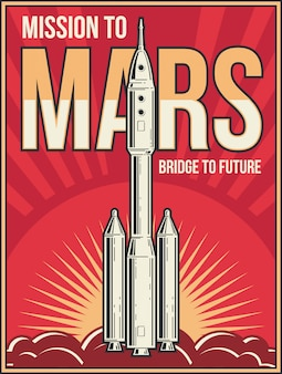 火星の背景への宇宙旅行。宇宙冒険プロジェクトビンテージポスター。