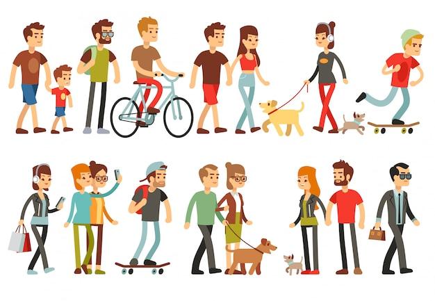 さまざまなライフスタイルの女性と男性。漫画のキャラクターセット