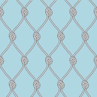 Морская веревка рыболовная сеть с узлами бесшовный фон. морская повторяющаяся текстура.