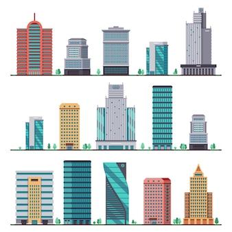 Здания и современные городские дома плоские иконки. комплекс строительства офисного города