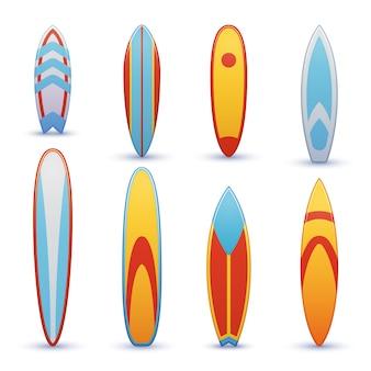 クールなセットとヴィンテージのサーフボード。サーフィンのショートボード、ファンボードのイラスト