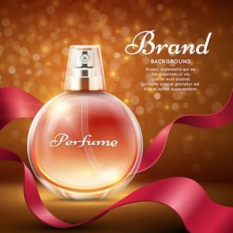 赤い絹のリボンのロマンチックなギフトの背景を持つ香り甘い香水。