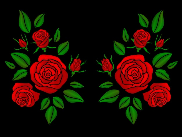 バラのイラストとエスニック花柄ネックライン刺繍