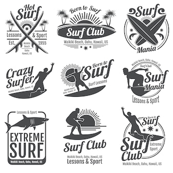 サーフィンクラブのビンテージエンブレム。波の標識にサーフボード