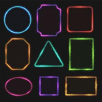 マルチカラーネオン枠。シンプルな形の光のバナーの楕円形と正方形、イラスト