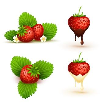 葉のイラストと赤い熟したイチゴを閉じます。熟したフルーツレッドベリー