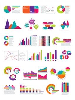 フローチャートとインフォグラフィックの要素。統計図ウェブサイトのレイアウトテンプレート