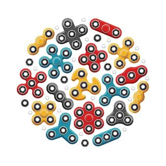 手のスピナーやフィジェットスピナーのおもちゃアイコン。応力緩和メカニカルボールの図