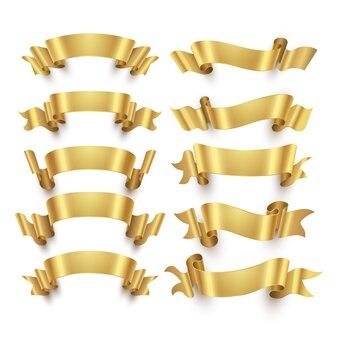 Золотые ленты и золотые награды баннеры вектор
