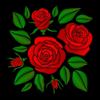 刺繍の赤いバラの花のベクトルのセット