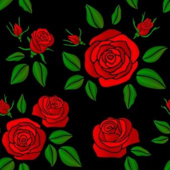刺繍の赤いバラの花模様