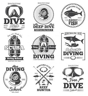 Подводное плавание с аквалангом клуб вектор винтажные эмблемы
