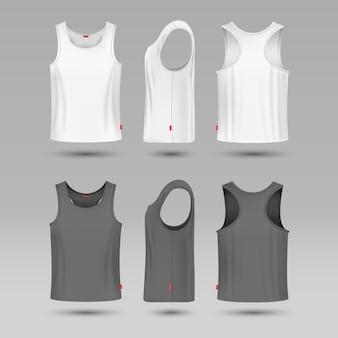 白い空白のタンク一重項をマンします。袖なしの男性用シャツベクトルテンプレート。