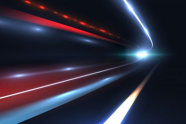 車のスピードライン長時間露光の抽象的なベクトルの背景の悲劇的な光の道