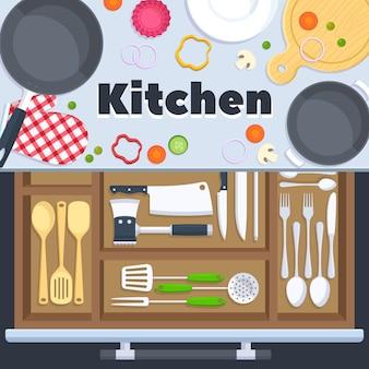 レストランの機器を調理するキッチンデザインのベクトルの背景。ナイフスプーンとフォークをキッチン