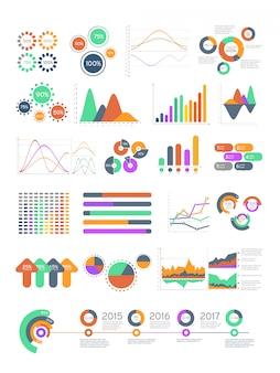 Разноцветные векторные инфографики с различными графиками и диаграммами