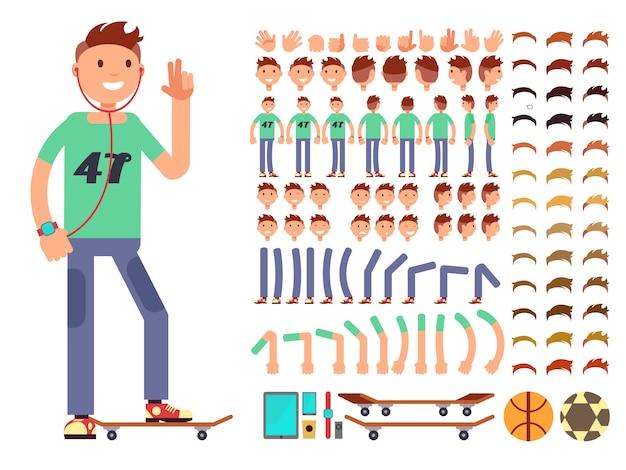 若くて幸せなベクトル文字作成コンストラクター。ヘッドフォンを持つ学生少年