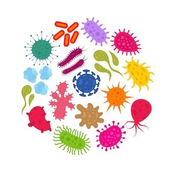 Микроорганизм и вирус первобытной инфекции. бактерии и микробы векторные иконки
