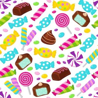 ロリポップキャラメルキャンディシームレスパターン。お菓子の盛り合わせ無限の背景