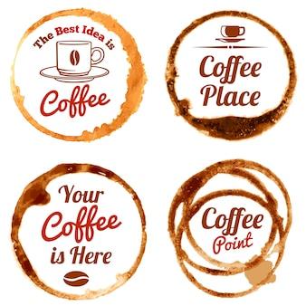 コーヒーの汚れベクトルのロゴとラベルセット