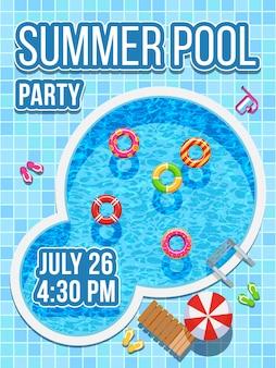 青い水とトップビュー誰もいないプール。パーティーの招待状のベクターデザイン