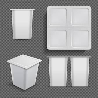 Белый пустой контейнер. мороженое десертное и упаковка йогурта изолированные