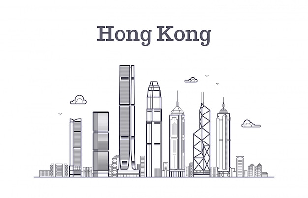 中国香港市のスカイライン。建築のランドマークや建物のベクトル線のパノラマ