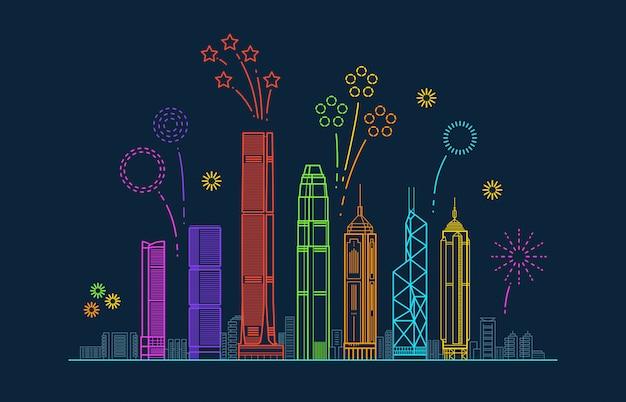 お祝い花火と香港市ベクトルパノラマ。建物と中国ラインの街並み