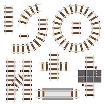 Железнодорожные конструктивные элементы. вид сверху железнодорожных путей векторный набор